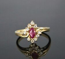 Vintage Estate 14K Yellow Gold 0.50ct Marquise Red Ruby Round Diamond Ring