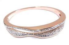 Hilly Narrow Bangle White Rose Gold Plated Large 2017 Swarovski Jewelry #5366595