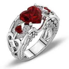 Angel Wings Women Wedding /Engagement/Promise Red Heart Shape White Zircon