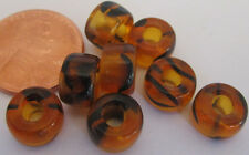 60 Czech Glass Tortoise Tiger Stripe Foil-Lined Large Pony Beads 9mm x 6mm