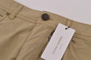 Luciano Barbera NWT 5 Pocket Casual Pants Sz 50 34 US Khaki Tan Cotton Blend