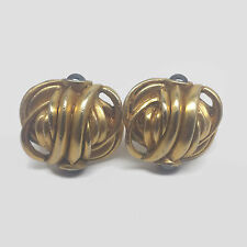 Gold Tone Gunmetal Gray Cabochon Clip Earrings