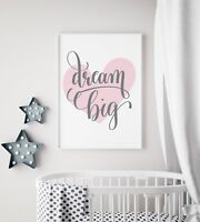 Dream Big Pink Heart Print Nursery Kids Baby Girl Room Wall Art Picture Decor