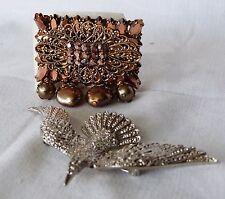 Vintage Set of Two Brooch Pin Art Deco - Art Nouveau 80s Faux Jewellery, Bird