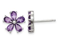 Аметист цветок серьги из чистого серебра