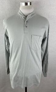 Bulwark FR Flame Resistant Men's Long Sleeve l Henley Shirt Gray Size Small S