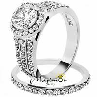 Stainless Steel 2.45 Ct Halo Round Cut Zirconia Wedding Ring Set Women's Sz 5-11
