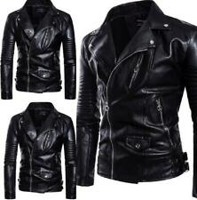 Men Leather Jacket Punk Motorcycle Military Punk Slim Fit Coat Metallic Zipper