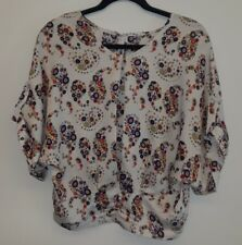 Anthropologie WILLOW & CLAY Women's Ivory Floral Batwing Blouse Size Small