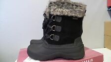 NEW KHOMBU SLOPE WINTER BOOTS BLACK LEATHER WOMEN'S SIZE 6 LEATHER WATERPROOF