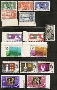 Ascension Island - 1937 to 1972 - Six Different Commemorative sets - U/M mint