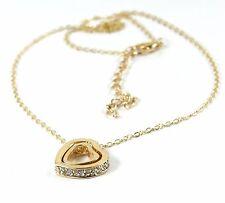Women's 9 Carat Gold Plated Cubic Zircon Double Heart Pendant Necklace Jewellery