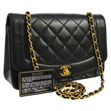Auth CHANEL Quilted CC Single Chain Shoulder Bag Black Leather Vintage F02784