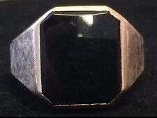 VINTAGE Mens Black ONYX RING 10K Yellow Gold Size 8.5