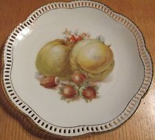 VINTAGE  GERMANY   RETICULATED  PORCELAIN FRUIT PLATE   UNKOWN ORIGIN
