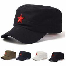 Vintage Army Cadet Military Cap Men Women Adjustable Red Star Cotton Hat  * #