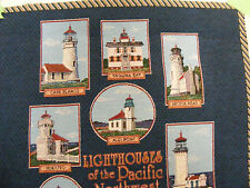LIGHTHOUSES OF PACIFIC NW TAPESTRY hanging/pillow /or  frame ..to make 17.5X17.5