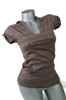 L.E.I. Womens Hoodie Short Sleeve Top Shirt Studded NWT Striped Purple Size S