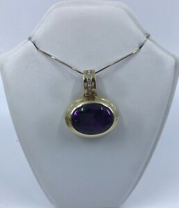 18k Gold Amethyst and Diamond Pendant Necklace