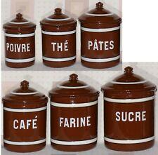 More details for set 6 brown vintage french enamel graniteware spice flour sugar tea coffee pots