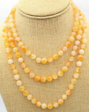 """Natural 8mm Brazil yellow jade necklace Jewelry 36/48/60"""" JN1508"""
