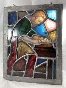 RARE Antique Religious Hand Painted Stained Glass Panel w Joseph Motif