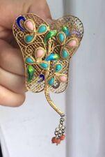 Antique/vintage S925 Mark Silver Gilt Turquoise Coral Fan Shape Enamel Brooch