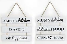 White Vintage Kitchen Wood Funny Novelty Mums Messy Kitchen Hanging Plaque Sign