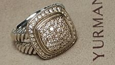 Authentic David Yurman Albion 16 Mm Pave Diamond Ring Size 6 with Pouch