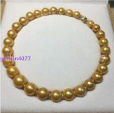 """HUGE 15-12 MM golden natural 18"""" AAA SOUTH SEA PEARL NECKLACE 14K gold Clasp"""