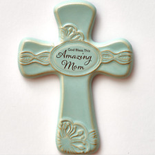 Gift for Mom Ceramic Cross Wall Hanging Antique Finish God Bless This Amazing