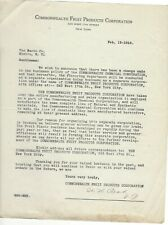 1918, Commonwealth Fruit Products Corporation, New York City, Restructure Letter