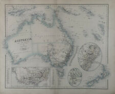More details for 1859 australia & new zealand with goldfields large antique map by fullarton