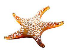"New 7"" Hand Blown Art Glass Starfish Figurine Sculpture Statue White Amber"