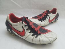 NIKE Total 90 Laser III FG White/Red Leather Soccer Shoes Mens Size 9.5