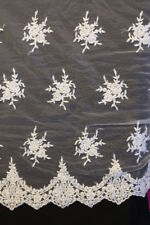 New 5mtr 60cm White/Silver beaded Bridal lace allover Ideal to make Bridal Sari