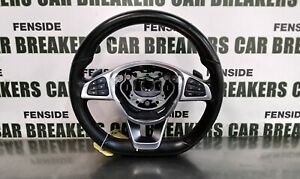 2016 MERCEDES A 180D W176 FLAT BOTTOM STEERING WHEEL WITH PADDLE SHIFT #1695A