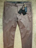 "TED BAKER RED / PINK ""CURLONG"" SLIM FIT TROUSERS PANTS CHINOS - 36R - NEW & TAGS"