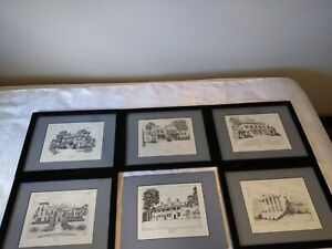 6 Lithograph Prints Of Former President Homes by Richard V. Sebring Collectible