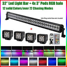 """32 inch LED Light Bar + 4x 3"""" CREE Led Pods RGB Halo Multicolor Remote for Jeep"""