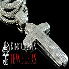 14k White Gold Finish Real Diamond Look Cross Pendant Franco Chain Necklace Set