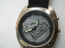 Fossil SUPERMAN men's black leather,quartz,battery & Analog dress watch.LI-1299