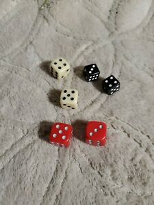 Backgammon Vintage Dice Red/White/Black Mixed Lot