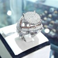 Vintage 925 Silver Women Wedding Rings Jewelry White Sapphire Ring Size 6-10