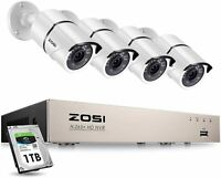 ZOSI H.265+ 8CH 5MP PoE NVR System 1080P PoE IP Outdoor Securtiy Camera 1TB HDD