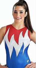 New Gk Elite Leotard Gymnastics Blazing Freedom Usa Flame Tank Sequin Bling As