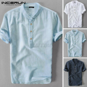 Summer Men's Cotton Linen T Shirts Half Button Formal Smart Slim Fit Henley Tops