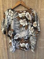 Rhoda Lee Vintage White Black Brown Floral Retro Print Shirt 14 L Tropical Top