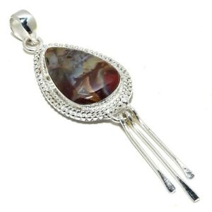 "Laguna Lace Agate Gemstone Ethnic Handmade Silver Jewelry Pendant 3.5"" PR3113"