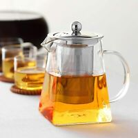350-950ml Heat Resistant Clear Glass Teapot Jug Infuser Coffee Leaf Herbal UK